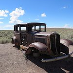 An Old Car On Old Route 66 In The painted Desert Arizona
