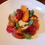 I ordered this amazing tomato and stone fruit salad as my dessert.