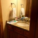 vanity area of bathroom, has tub with nice rain shower