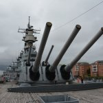 On deck of the USS WIsconsin in less than sunny weather