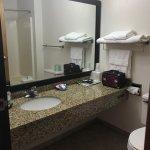 Bathroom, nice packets of coffee, good amenities, mini fridge