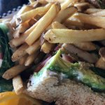 Chicken Avocado Club Sandwich with Fries