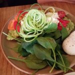 Seasonal avocado w/ citrus salt, cucumber ribbons, heirloom tomato, with poached egg