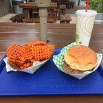 The Original Cheeseburger and Sweet Potato Waffle Fries