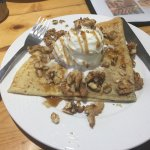 Crepe with nuts and ice cream