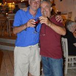 Me and the owner Kosta enjoying a glass of wine
