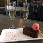 Surprise dessert and champagne. Beautiful and thoughtful. A nice touch.