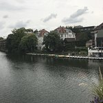 The hotel viewed from Tubingen's central bridge