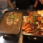 Seafood Pot in MALA broth and Red Snapper fish in Seafood Mushroom broth