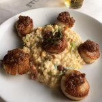 Seared scallops with apricot bacon jelly, scallion risotto/sundried tomato/roasted butternut squ