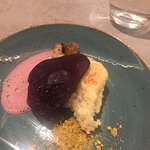 Chambord Poached pear with Buttermilk Biscuit and Chambord Air