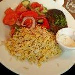 Lamb kefte with saffron rice and Greek salad