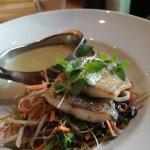 Sea bass & salad with Thai green curry sauce