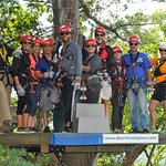 Our ziplining group high in the canopy, with guides H.B., left, and Alisha, right.