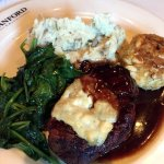 Filet with gorgonzola, crab cake, spinach, mashed potatoes