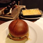 my meal: burger, meatballs and mac'n'cheese