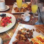 The Junior (eggs any style), home fries, toast, bacon. Mimosas, French Toast w/ fresh fruit