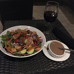 Enjoyed a garden salad and glass of wine on the patio... Fantastic restaurant with patio service