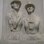 Bas relief of Llangollen Ladies from local church