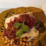 Halibut and chick peas
