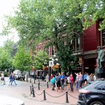 Main square, with statue of Gastown Jack, from outdoor dining area.