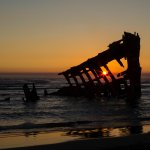The wreck of the Peter Iredale at sunset.