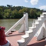 Steps to go up to barges to tie them to the tow boat.