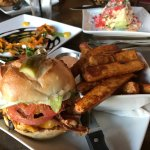 BBQ Nickel Burger on Pretzel Bun w/ Sweet Potato Fries, Southwest Caprese (avg), Wedge Salad (gr