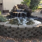 Little waterfall outside pool area