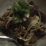 Morel pasta with pork belly - delicious