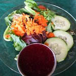 Side salad with huckleberry dressing