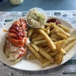 lobster roll, coleslaw and fries