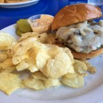 Wild Rice Burger with onion and swiss cheese