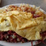 Corned beef hash, hashbrowns and eggs