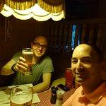 Enjoying a local beer