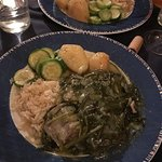 Lamb with spinach fricasse