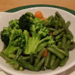 cold vegetables offered as main dinner course to vegetarian