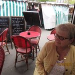 Relaxing outside the bistro at the market Marché Maubert