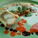 Paté d'Esturgeon de Gensac et aubergines, chutney de tomates du jardin
