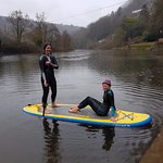Wye Canoes female instructors SUPing in the winter