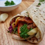 Shawarma with chicken or beef and cheese