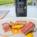 Pork Belly with a study of Peaches paired with Quartz Stone Chardonnay