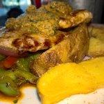 Pork Filet, potato wedges, Café du Paris butter and veggies 2