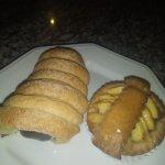 Recheio de chocolate e mini torta de maçã