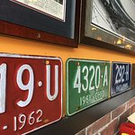 Old Ohio license plates and pics on the wall