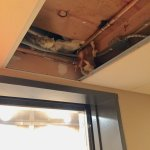 This was the ceiling just in front of the third floor elevator entrance, missing a ceiling tile.