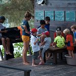 Children being entertained (and taught about conservation) at the dive centre
