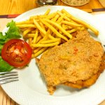 Wiener schnitzel as a change from pasta and pizza!