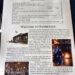Beverage menu and resort history