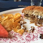 Brule Burger- note dry thin beef patty and no flavor and there is the handful of chips